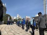 滋賀県庁前での出動式